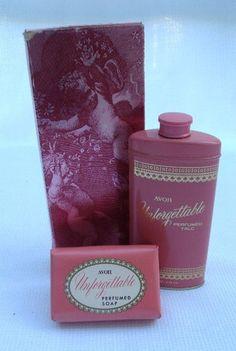 Vintage 60s Avon Unforgettable Perfumed Pair Talc  http://r.ebay.com/ZhYSm1