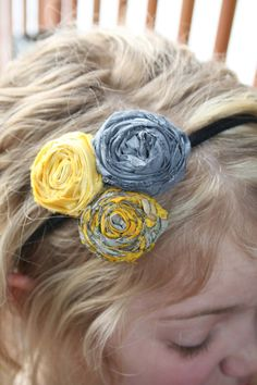 cute fabric flower headband - want to try this with the new CTMH base and blings head band