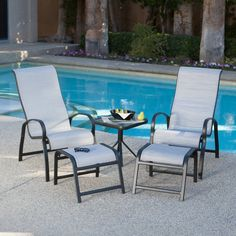 Metropolitan 5 Piece Poolside Sling Lounge Set - Conversation Patio Sets at Hayneedle