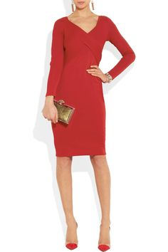 Hot red stretch-crepe dress by Donna Karan