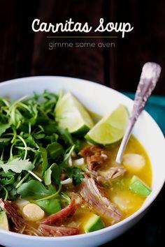 Carnitas Caldo (Carnitas Soup) -- simply the BEST! | gimmesomeoven.com #soup