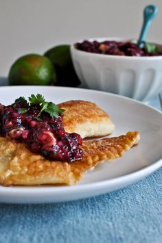 Crispy Honey Lime Tilapia with Blueberry Lime Salsa