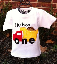 Appliqued Boys 1st Birthday Dump Truck Tee. $19.95, via Etsy.