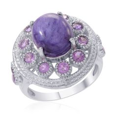 Liquidation Channel | Siberian Charoite, Amethyst, and Diamond Ring in Platinum Overlay Sterling Silver (Nickel Free)