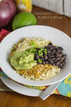 Crockpot Chicken Burrito Bowls by thisgalcooks #Burrito_Bowls #Chicken #Crockpot