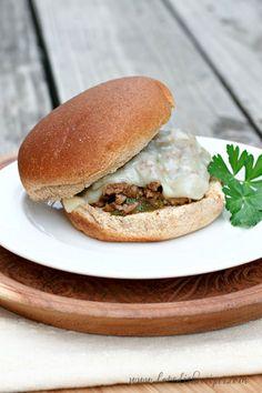Philly Cheese Steak Sloppy Joes. #dinner #recipe #easy #beef http://www.highheelsandgrills.com/2013/11/philly-cheese-steak-sloppy-joes.html