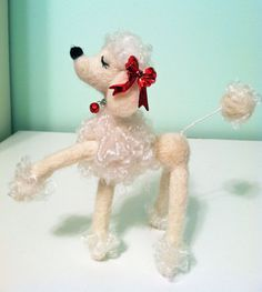 Felted Snooty Poodle White with Red Bows and by MelaniesMenagerie