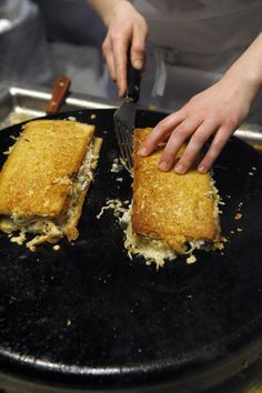 Dungeness crab Reuben sandwiches on the grill (Photo by Michael Harlan Turkell)