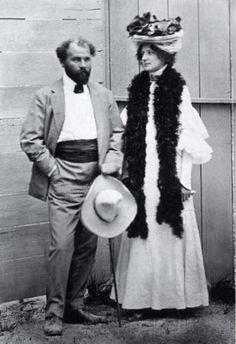 Gustav Klimt and Emily Flöge. Klimt is believed to have had sexual liaisons with many of the women whose portraits he painted, as well as with his models (he fathered at least 14 illegitimate children) while remaining in a life-long relationship with fashion designer Emily Flöge.