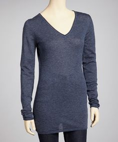 Take a look at this Navy & Gray Stripe V-Neck Cashmere Tunic by BCBGMAXAZRIA on #zulily today!  I'm a T2/4, and I think this sweater is going to be just right for me!