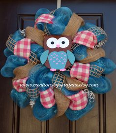 Turquoise and Pink Owl Wreath - Mesh Owl Wreath - Mesh Spring Wreath. $85.00, via Etsy.