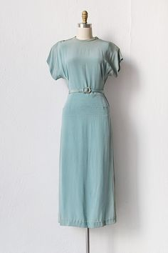 vintage 1940s blue rayon belted dress | Across the Lake Dress. Simple and elegant