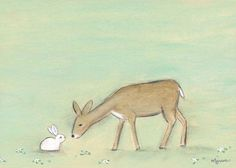 """Bunny And The Deer"" neutral artwork for nursery by Creative Thursday by Marisa for Oopsy Daisy, Fine Art for Kids"