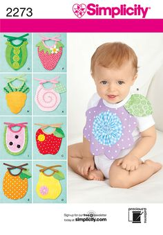 Simplicity pattern 2273: Baby Bibs. Babies sewing pattern.