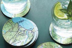 DIY Map Coasters