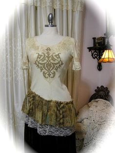 Upcycled Altered T-shirt Top, refashioned with ruffles and lace by Dede