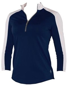 Jofit Cleo Mock 3/4 Sleeve Top - Navy/White | #Golf4Her #blue
