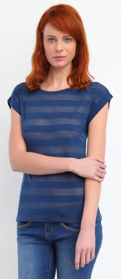 Bluza cu dungi transparenta - Navy SPO2382GR
