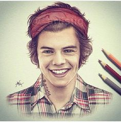harri style, harry styles drawing, draw class, one direction, pencil drawings, colored pencils