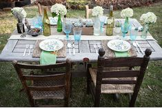 Turquoise and Yellow Tablescape