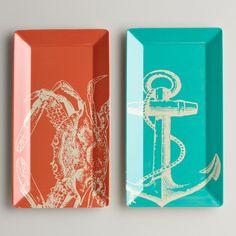 Rectangular Seascape Platters, Set of 2 | World Market