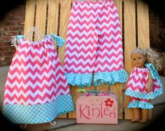 Girl's Pillowcase Top in Hot Pink Chevron and Aqua Polka Dot with Ruffled Capris with Matching Doll..Fits Dolls like AMERICAN GIRL on Etsy, $48.50