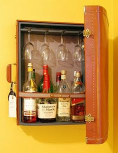 Suitcase drinks cabinet