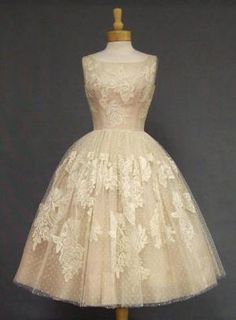 Ivory Lace & Pink Organdy 1950\'s Cocktail Dress VINTAGEOUS VINTAGE CLOTHING