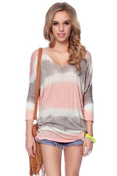 Tie Dye Tunic in Pink and Grey $32 at www.tobi.com