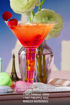 PINNACLE® THE PARIS ESCAPE (Pinnacle's take on classic french martini)  1 Part Pinnacle® Unflavored Vodka 2oz Muddled Raspberries 1 Part Pineapple Juice Lemon ______ Shake with ice. Serve in martini glass.