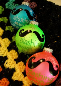 NEON ... stashing through the snow ornament with a moustache and personalizing