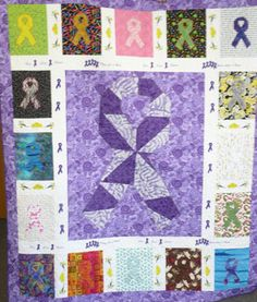 Quilting for a cause...Orange – Leukemia/Uterine/Endometrial Cancer  Yellow –Bladder Cancer  Green – Kidney Cancer  Blue – Colon Cancer  Periwinkle – Pancreatic/Esophageal/Stomach Cancer  Brown – Colorectal Cancer  Jade – Liver Cancer  Sky Blue – Prostate Cancer  Pink – Breast Cancer  White – Bone /Lung Cancer  Gray – Brain Cancer  Black/White – Carcinoid Syndrome Cancer  Gold – Childhood/Appendix Cancer  Teal – Ovarian Cancer  Hot Pink – Inflammatory Breast Cancer  Pink/Blue – Male Breast Cancer  Purple – U...