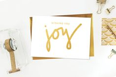 Wishing You Joy Handlettered Holiday Card