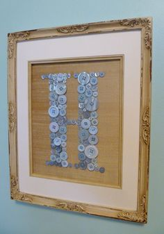 Vintage Style Boy Nursery Button Monogram by letterperfectdesigns
