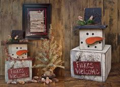 Shorty Snowman Stacker - Kruenpeeper Creek Country Gifts christma decor, country christmas