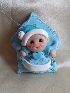 *POLYMER CLAY ~ Babys first Christmas Ornament  Personalized Baby Gift  Polymer Clay Baby Shower Gift