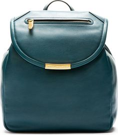 teal leather backpac