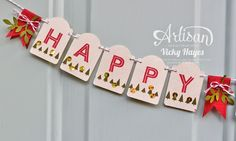 Stampin' Up ideas and supplies from Vicky at Crafting Clare's Paper Moments: Make a punched Christmas Banner - Artisan blog hop