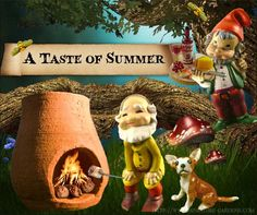 Gnomes being silly and making s'mores in our miniature fairy garden.