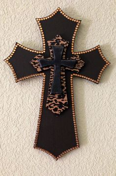Brown and Leopard Layered Wooden Cross by SouthernCharmMarket