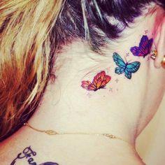 ear  tattoo for fashion girls   #ear #tattoo  #colorful #girls  www.loveitsomuch.com