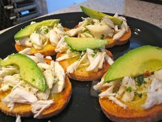 crab and avocado crostini....oh my oh my!