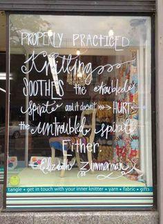 Window of the yarn shop, Tangle.