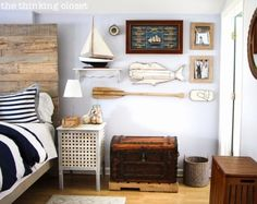 A Hip DIY Nautical Bedroom with a Surf Vibe bedroom idea, rustic nautic, guest bedrooms, nautical bedrooms, bedroom makeovers, hous, master bedroom, nautic bedroom, guest rooms