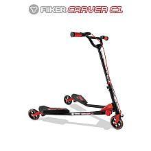 Y-Volution Y Fliker Carver C1 Scooter - Matte Black with Red Pads