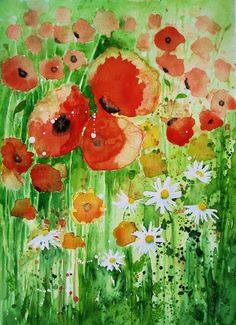 Original watercolour painting 'Wild poppies & by lavendergeorge