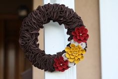 Wreath Home Decor Thanksgiving Brown Red and by LilNoodleBug, $28.00