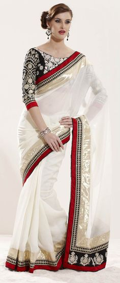 Off #White Art #Silk #Saree with Double Blouse @ $126.46