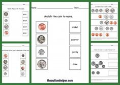 Money Worksheets {match coin front coin back, match coin to value, match coin to name, identify value, and identify greater value}