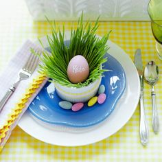 Grass-and-Egg Easter Table Setting